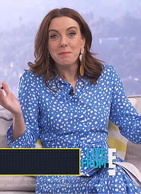 Melanie's blue printed shirtdress on E! News