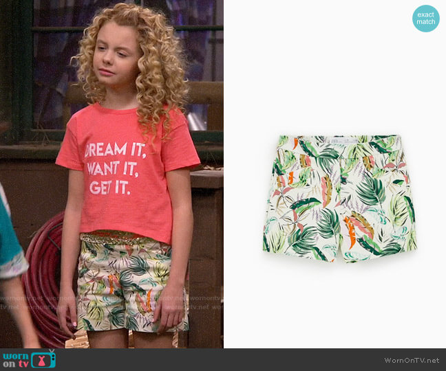 Zara Girls Floral Shorts worn by Destiny Baker (Mallory James Mahoney) on Bunkd
