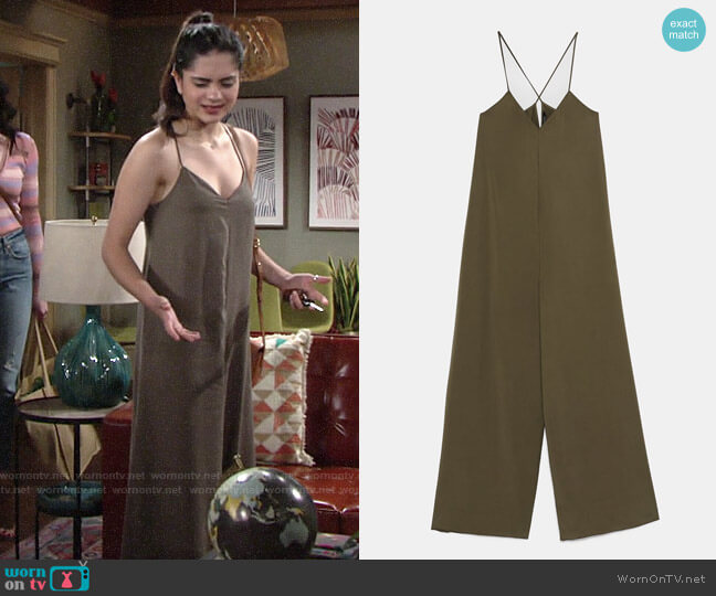 Zara Long Flowy Jumpsuit worn by Lola Rosales (Sasha Calle) on The Young & the Restless