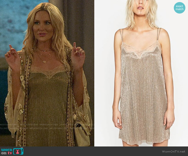 Zara Slip Dress with Lace Trim worn by Stephanie Pratt  on The Hills New Beginnings