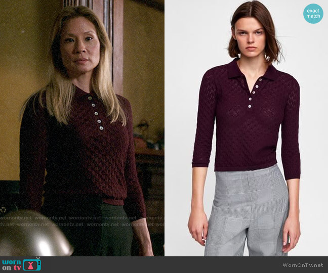 Zara Pointelle Polo worn by Joan Watson (Lucy Liu) on Elementary