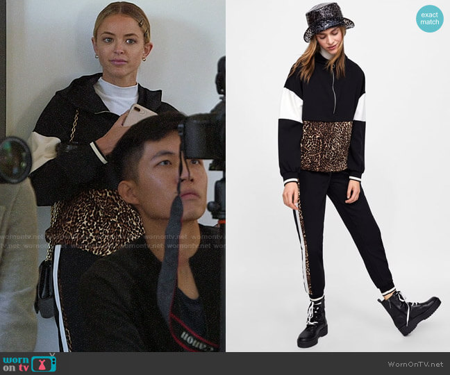 Zara Pouch Pocket Sweatshirt and Animal Print Jogging Pants worn by Kaitlynn Carter  on The Hills New Beginnings