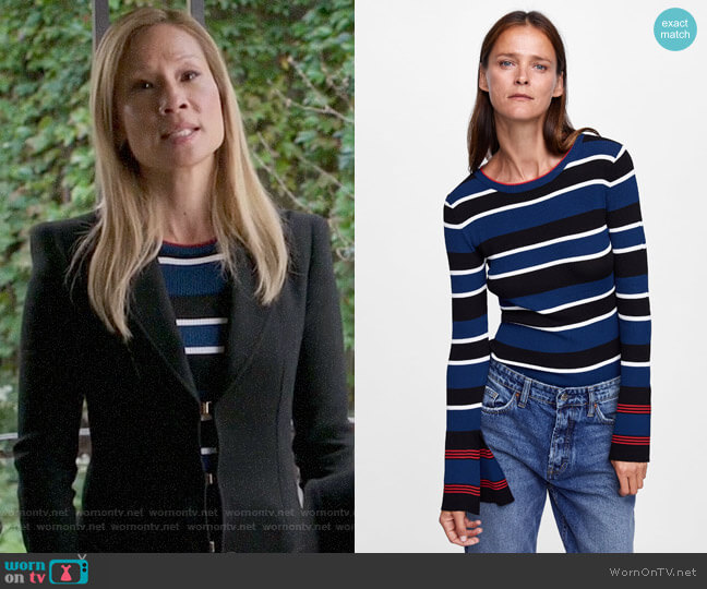 Zara Striped Top with Flared Cuffs worn by Joan Watson (Lucy Liu) on Elementary