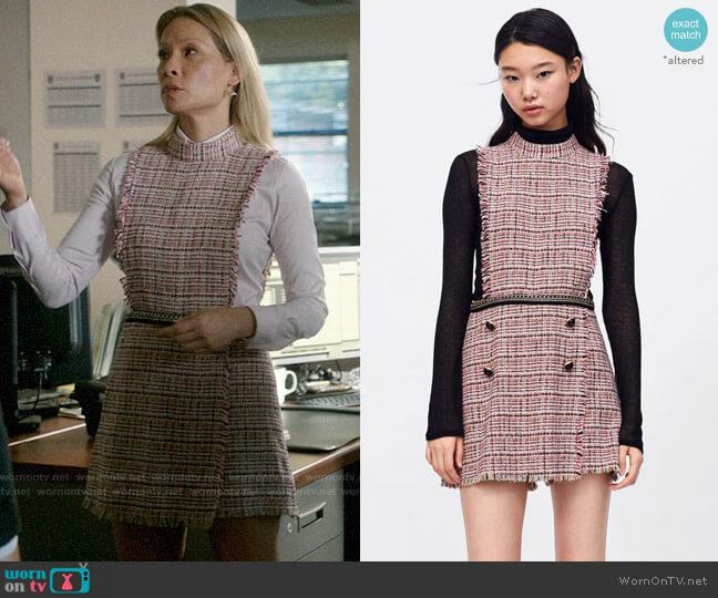 Zara Tweed Playsuit with Chain Detail worn by Joan Watson (Lucy Liu) on Elementary