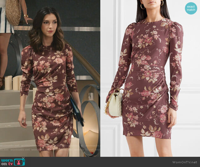 Draped Floral-Print Mini Dress by Zimmermann worn by Alicia Mendoza (Denyse Tontz) on Grand Hotel