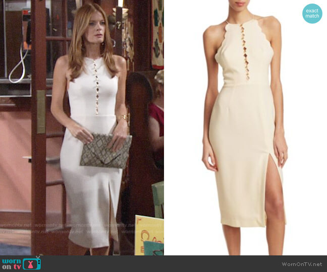 Zimmermann Scalloped Crepe Halter Midi Dress worn by Phyllis Summers (Michelle Stafford) on The Young & the Restless