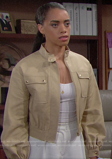 Zoe's khaki utility jacket on The Bold and the Beautiful