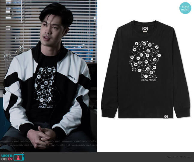 Head Music Long Sleeve Tee by 101 Apparel worn by Zach Dempsey (Ross Butler) on 13 Reasons Why