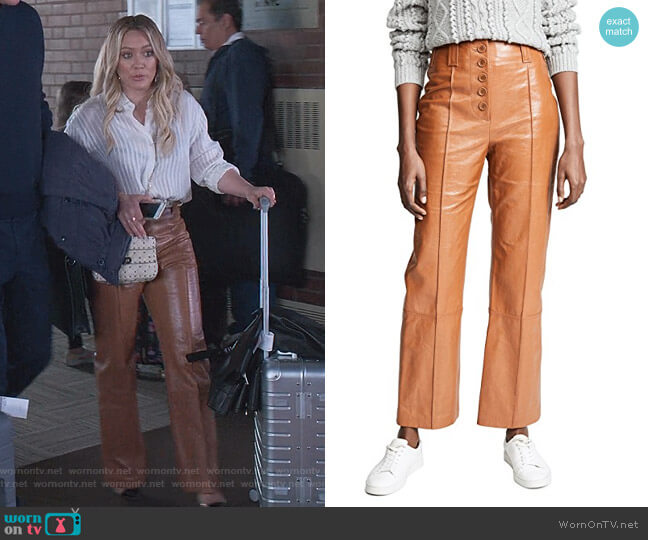 Button Fly Kick Flare Pants by 3.1 Phillip Lim worn by Kelsey Peters (Hilary Duff) on Younger