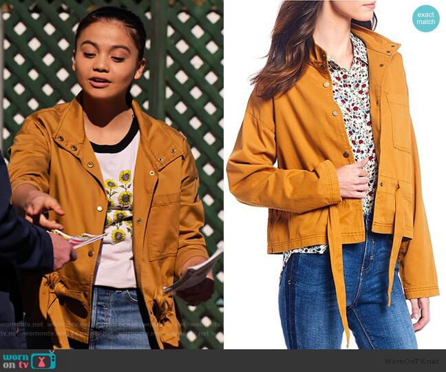 Tie Waist Safari Jacket by A loves A worn by Nick (Siena Agudong) on No Good Nick