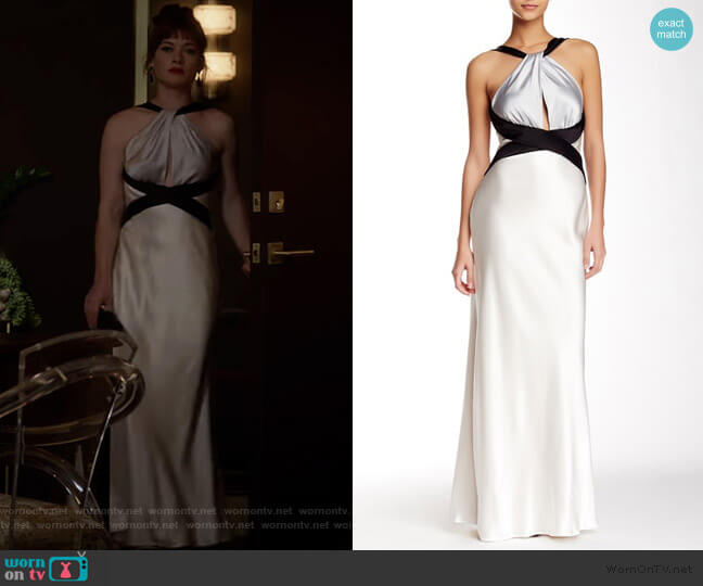 Colorblock Satin Halter Gown by ABS by Allen Schwartz worn by Lisa Donovan (Jane Levy) on What/If