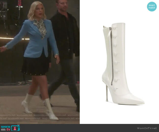 Hill boots by Alexander McQueen worn by Tori Spelling  on BH90210