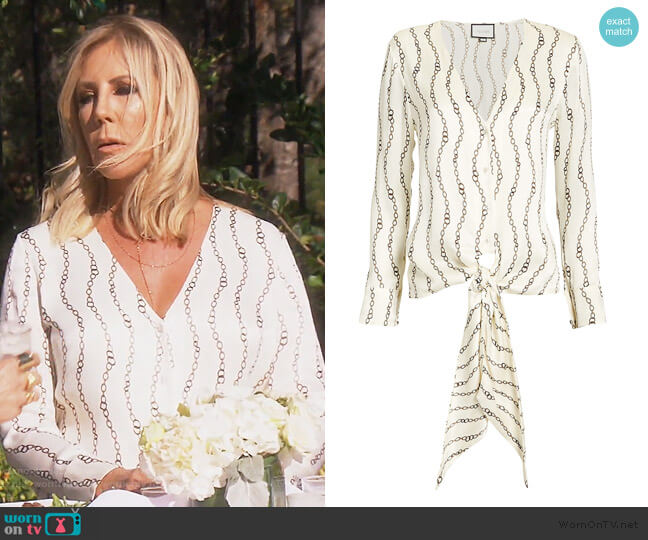 Dulcie Chain Print Blouse by Alexis worn by Vicki Gunvalson  on The Real Housewives of Orange County