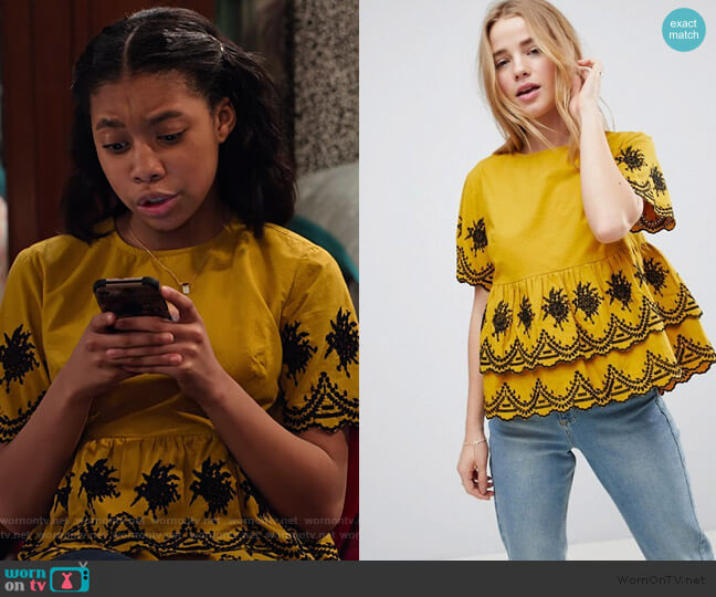 Embroidered Ruffle Smock Top by ASOS worn by Becky (Kyla-Drew) on No Good Nick