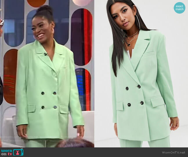 Apple Dad Suit Blazer by Asos worn by Keke Palmer  on Good Morning America