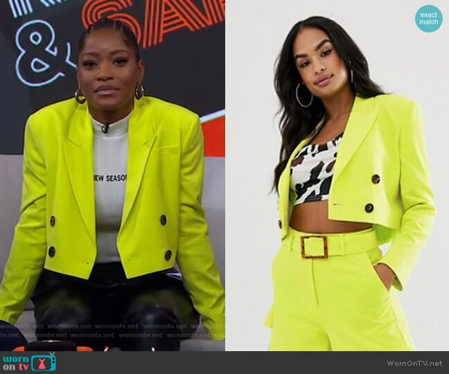 Lime Cropped Suit Blazer by Asos worn by Keke Palmer  on Good Morning America