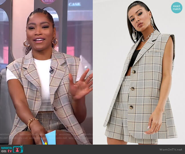 Sleeveless Suit Blazer in Check by Asos worn by Keke Palmer  on Good Morning America