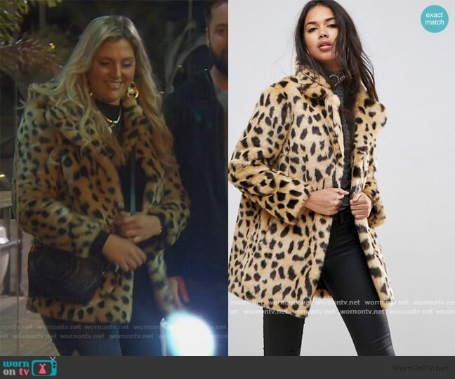 Faux Fur Coat in Leopard Coat by ASOS worn by Gina Kirschenheiter  on The Real Housewives of Orange County