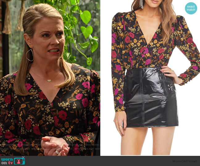Blondie Surplice Bodysuit by ASTR The Label worn by Liz (Melissa Joan Hart) on No Good Nick