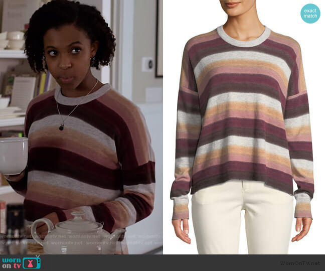 Striped Crewneck Sweater by  Anthony Thomas Melillo worn by Ani (Grace Saif) on 13 Reasons Why