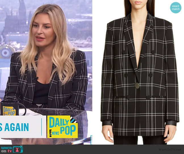 Leather-trimmed checked woven Blazer by Alexander Wang worn by Morgan Stewart  on E! News