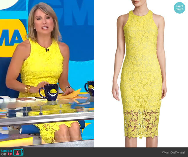 Floral Lace Midi Dress by Alexia Admor worn by Amy Robach  on Good Morning America