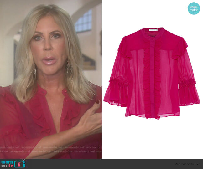 Odele ruffle-trimmed silk-chiffon blouse by Alice + Olivia worn by Vicki Gunvalson  on The Real Housewives of Orange County
