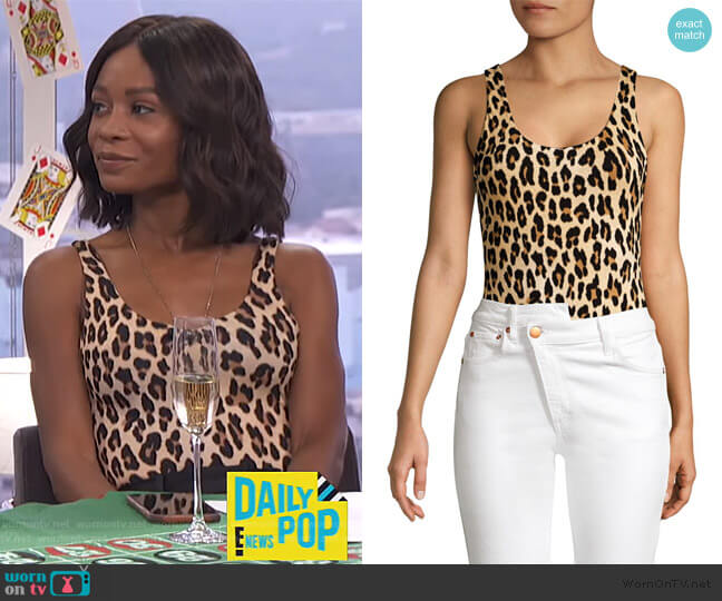 Arona Leopard Print Bodysuit by Alice + Olivia worn by Zuri Hall  on E! News