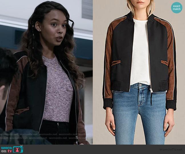 Atley Bomber Jacket by All Saints worn by Jessica Davis (Alisha Boe) on 13 Reasons Why