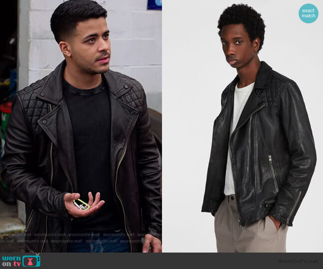 Conroy Leather Biker Jacket by All Saints worn by Tony Padilla (Christian Navarro) on 13 Reasons Why