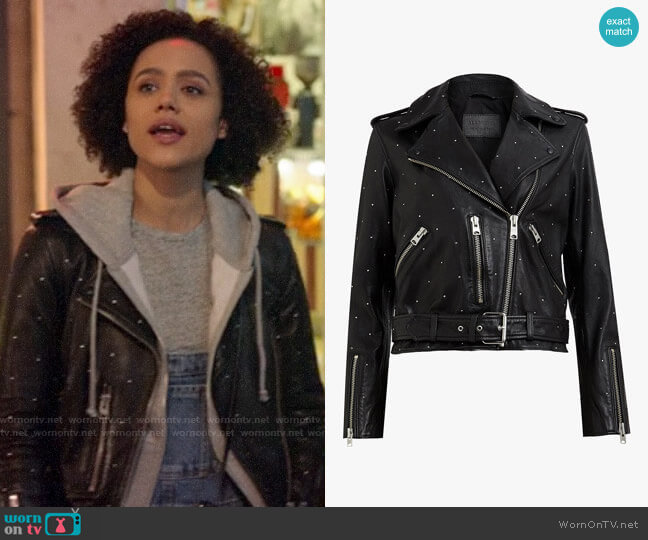 All Saints Studded Balfern Jacket  worn by Maya (Nathalie Emmanuel) on Four Weddings & a Funeral