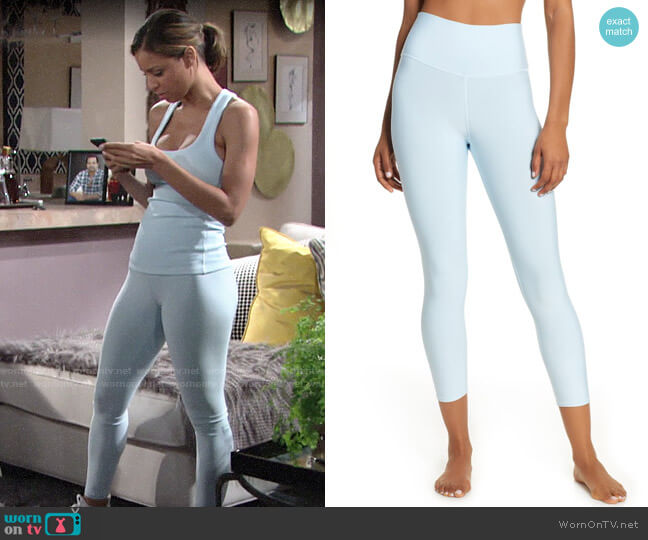 Alo Yoga Airlift High Waist Capris worn by Elena Dawson (Brytni Sarpy) on The Young & the Restless