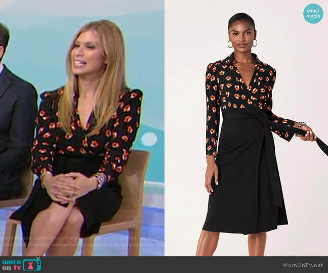 ngelina Collared Crepe Wrap Dress by Diane von Furstenberg worn by Jill Martin  on Today