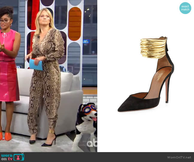 Hello Lover Suede Ankle-Strap Pump by Aquazzura worn by Sara Haines  on Good Morning America