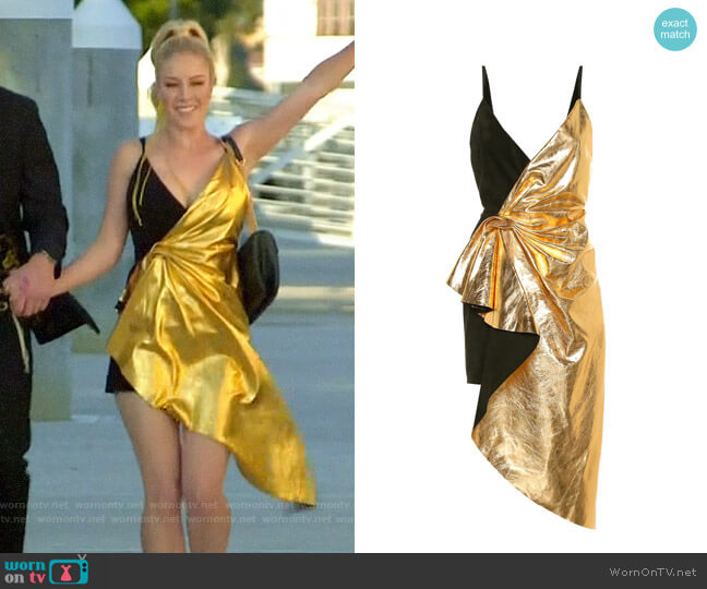 Gucci Asymmetrical Suede & Metallic Leather Dress worn by Heidi Montag  on The Hills New Beginnings