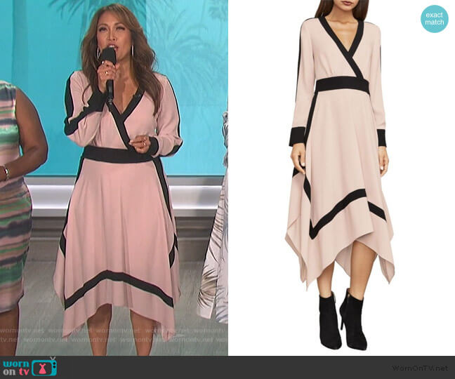 Bambi Colorblock Wrap Dress by Bcbgmaxazria worn by Carrie Inaba  on The Talk