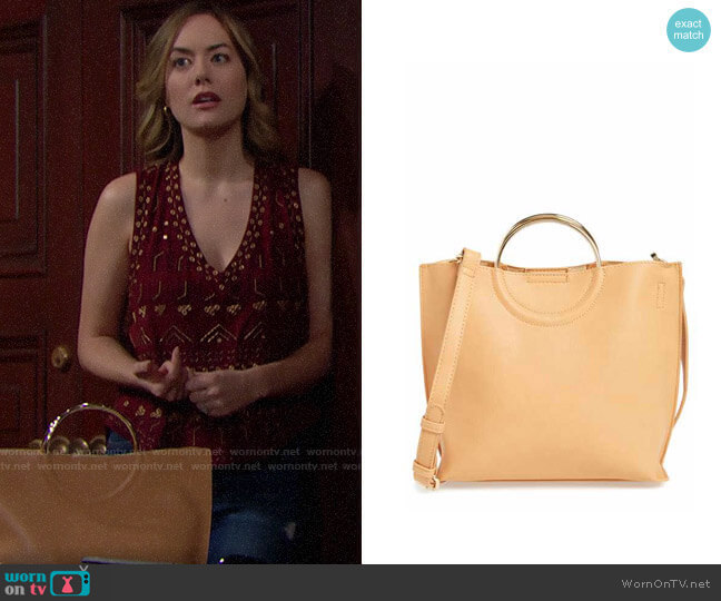 BP Metal Handle Faux Leather Crossbody Bag worn by Hope Logan (Annika Noelle) on The Bold & the Beautiful
