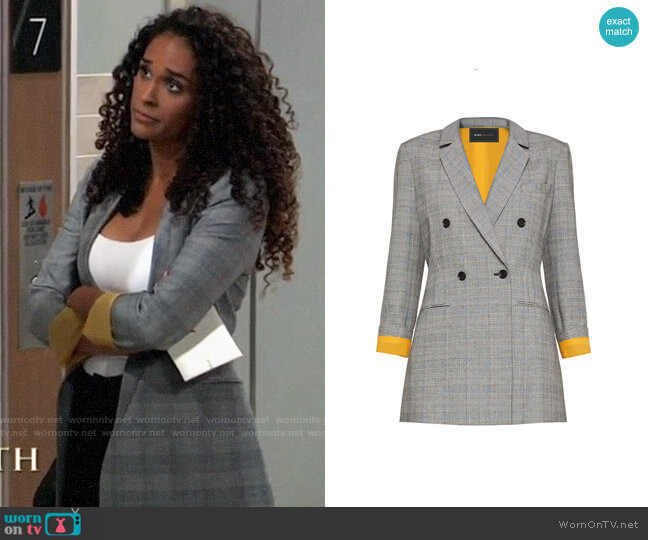 Bcbgmaxazria Houndstooth Double-Breasted Blazer worn by Jordan Ashford (Briana Nicole Henry) on General Hospital