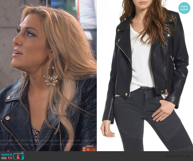 Life Changer Moto Jacket by BlankNYC worn by Gina Kirschenheiter  on The Real Housewives of Orange County