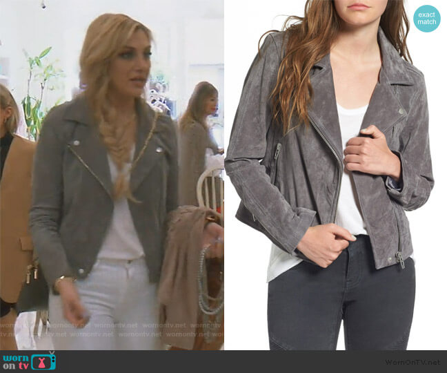 Suede Moto Jacket by BlankNYC Denim worn by Gina Kirschenheiter  on The Real Housewives of Orange County