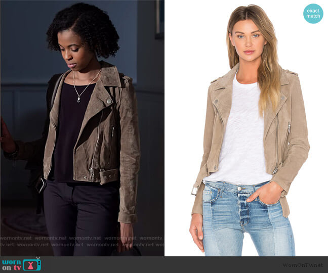 Suede Moto Jacket by BlankNYC worn by Ani (Grace Saif) on 13 Reasons Why