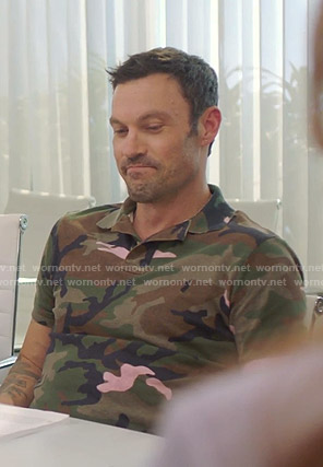 Brian's camo print polo shirt on BH90210