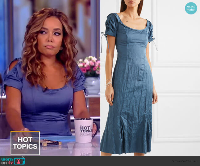 Ruched crinkled matte-satin midi dress by Brock Collection worn by Sunny Hostin  on The View