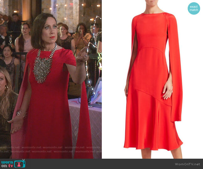 Silk Cape-Sleeve Midi Dress by Calvin Klein 205W39NYC worn by Diana Trout (Miriam Shor) on Younger