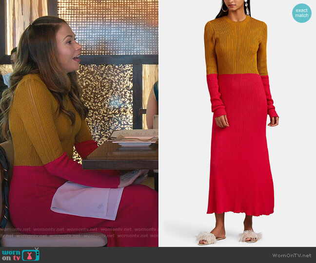 Colorblocked Cotton Sweaterdress by Cedric Charlier worn by Liza Miller (Sutton Foster) on Younger