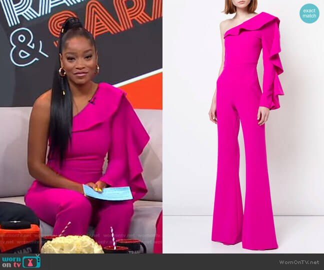 One-Shoulder Tailored Jumpsuit by Christian Siriano worn by Keke Palmer  on Good Morning America