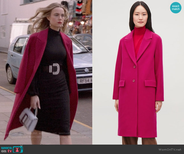 COS Coat with Oversized Lapels worn by Ainsley Howard (Rebecca Rittenhouse) on Four Weddings & a Funeral