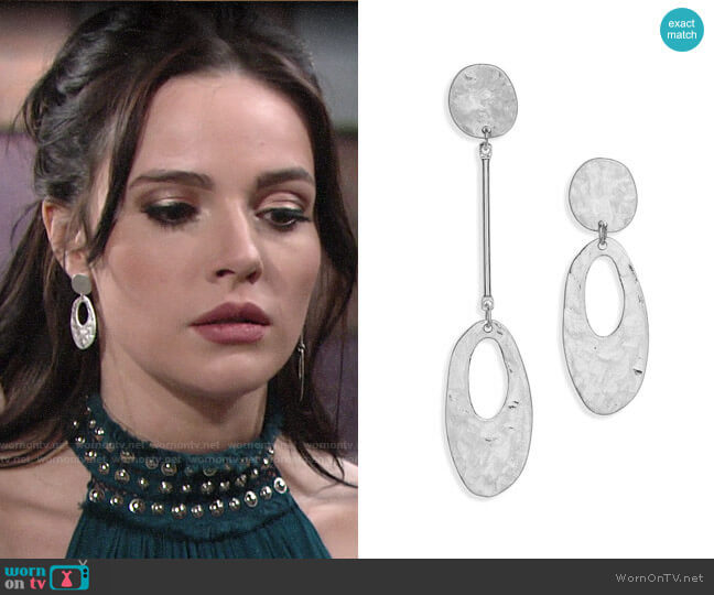 Canvas Jewelry Mismatched Hammered Drop Earrings worn by Tessa Porter (Cait Fairbanks) on The Young & the Restless