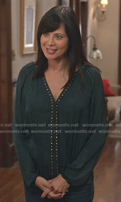 Cassie's green studded blouse on Good Witch