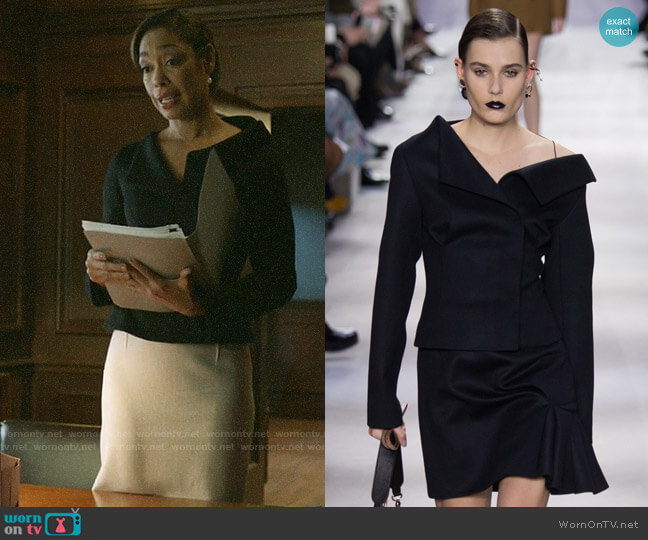 Christian Dior 2016 Fall Collection Bare Shoulder Blazer worn by Jessica Pearson (Gina Torres) on Pearson